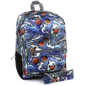"""Boys Blue 16"""" Sharks in Space Backpack w/Pencil Cs"""